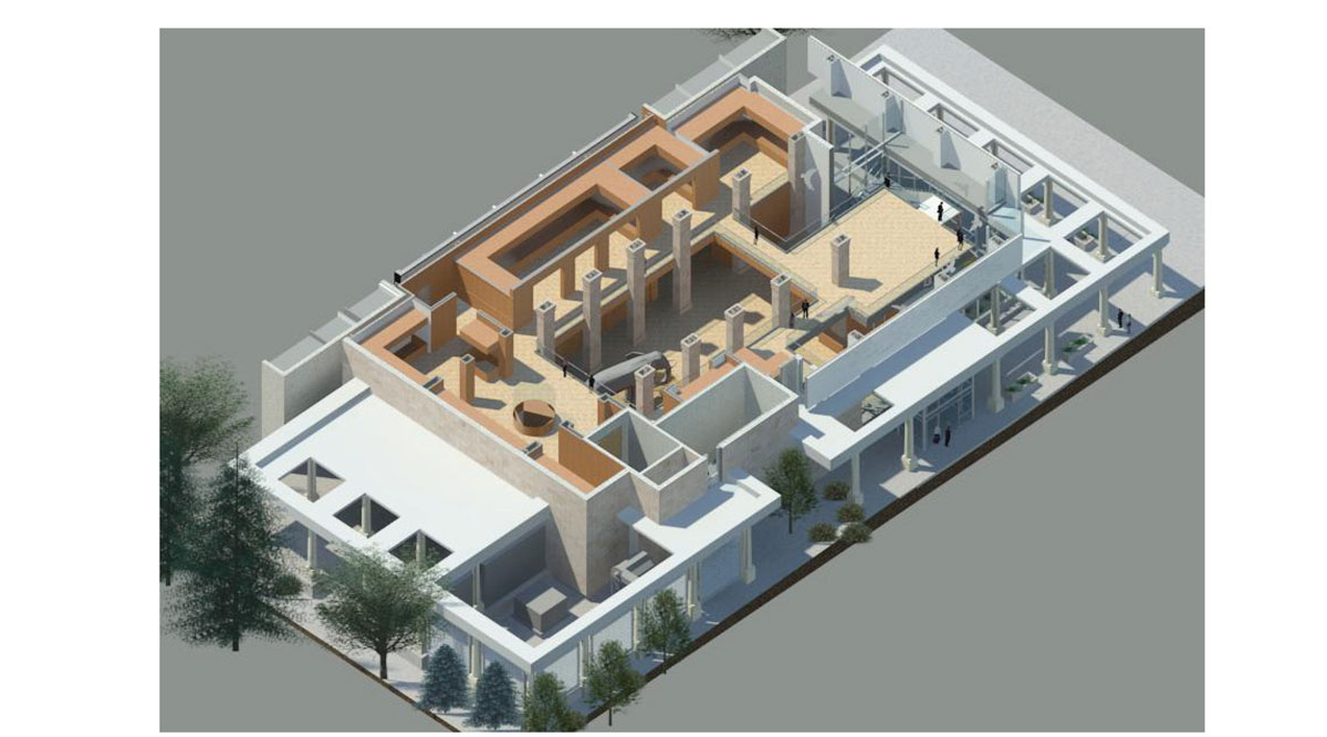 3D rendering of the interior layout for the classical modern museum design.