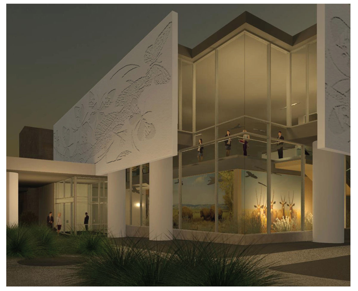 3D rendering of the exterior classical modern museum design at night.