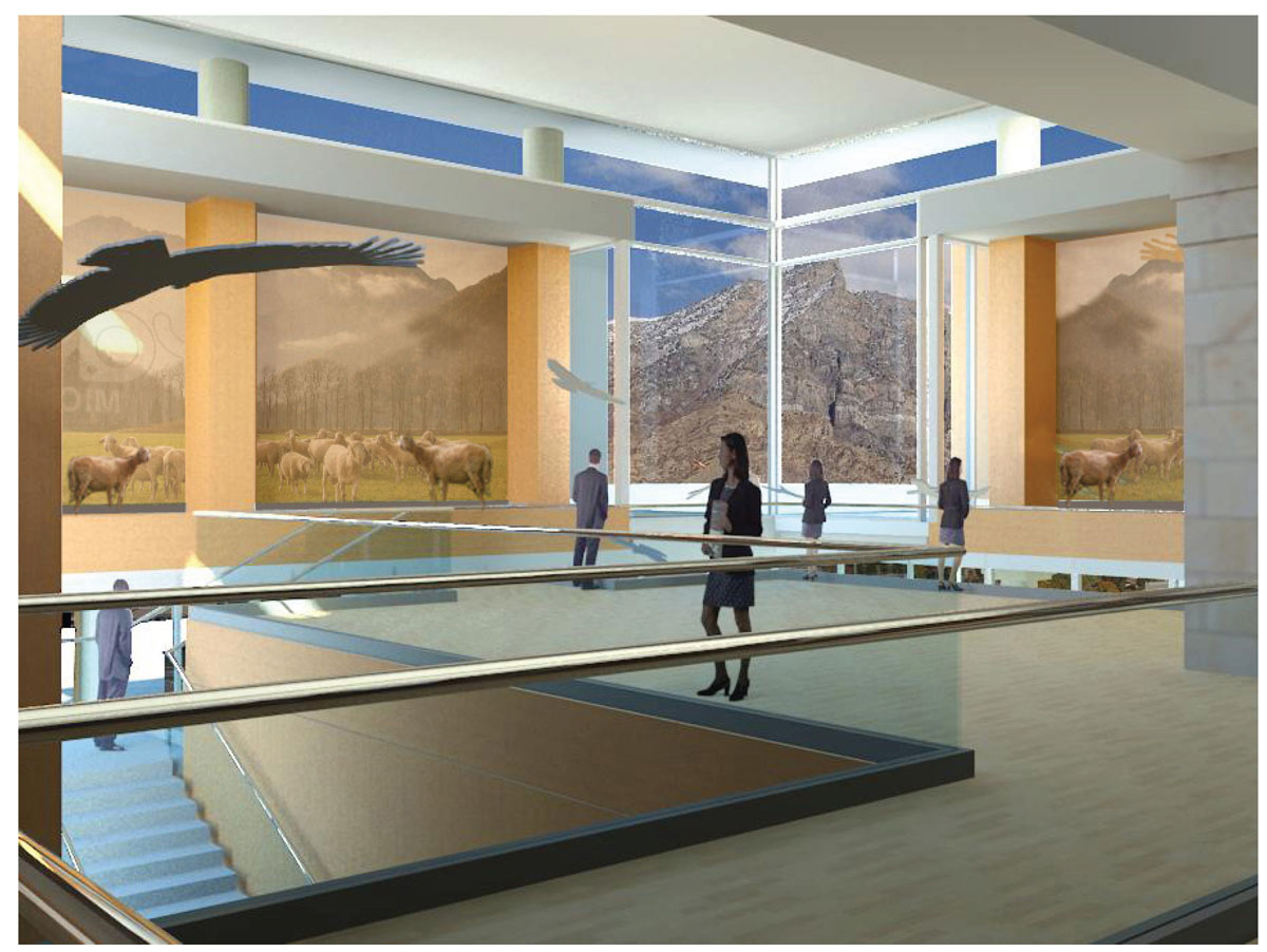 3D rendering of the upper level of the classical modern museum design.