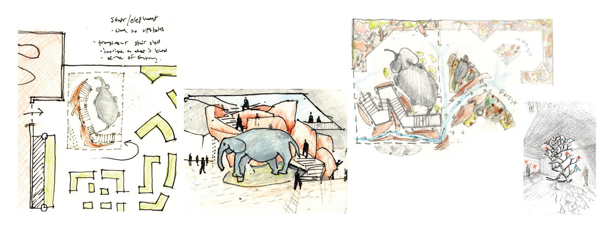 Colored concept sketch of the elephant and stair path beside as part of the classical modern museum design.