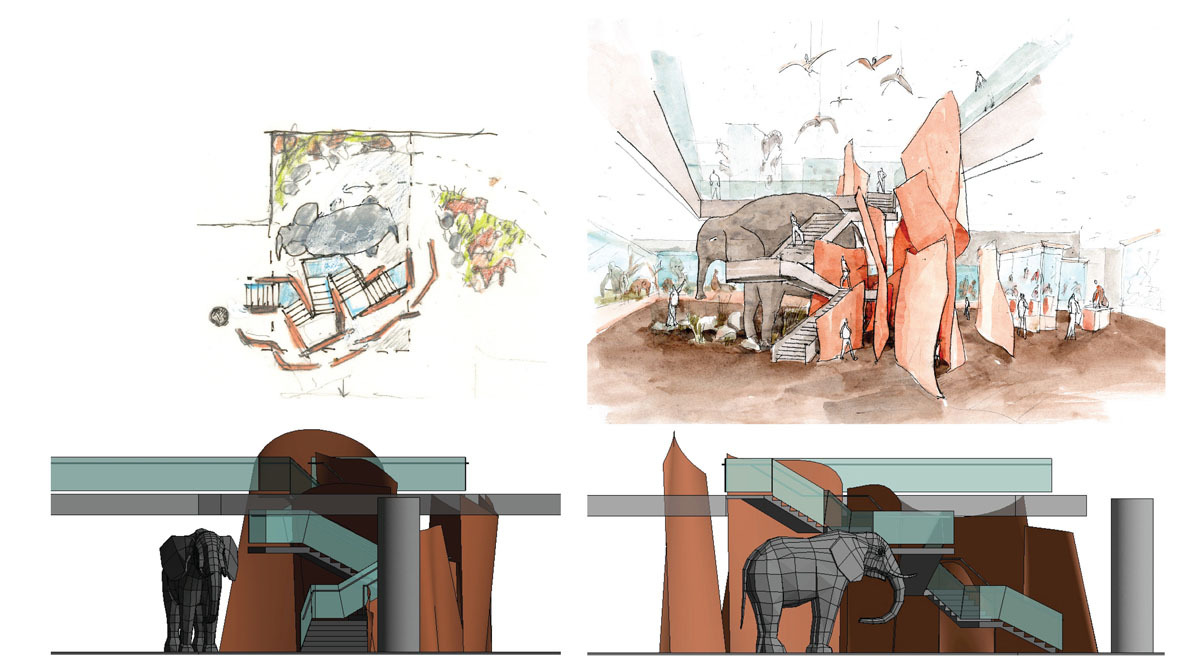 Collage of concept sketches and 3D renderings of elephant and adjacent stair placement.