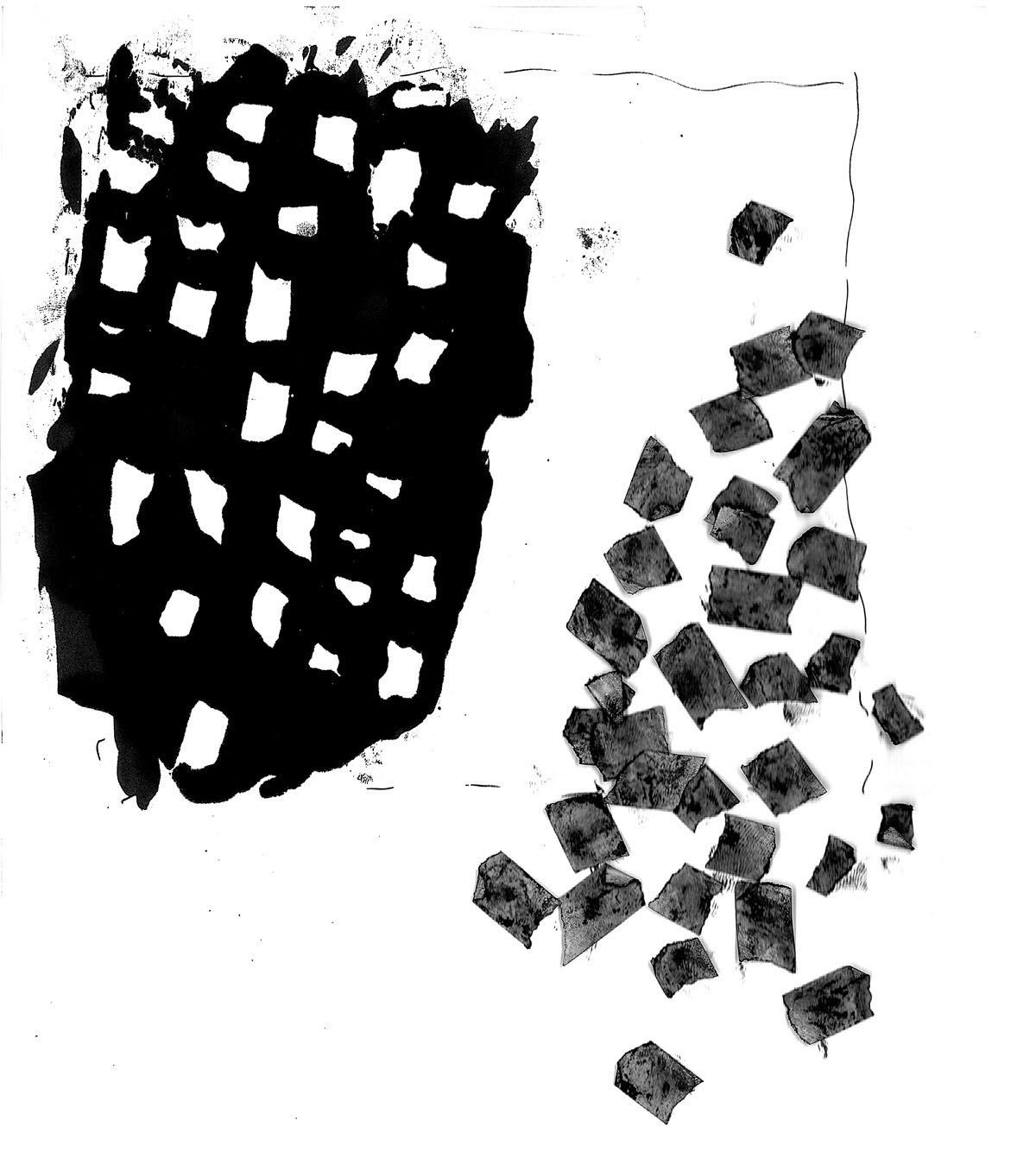 Black and white abstract idea sketch for a design inspired by nature.