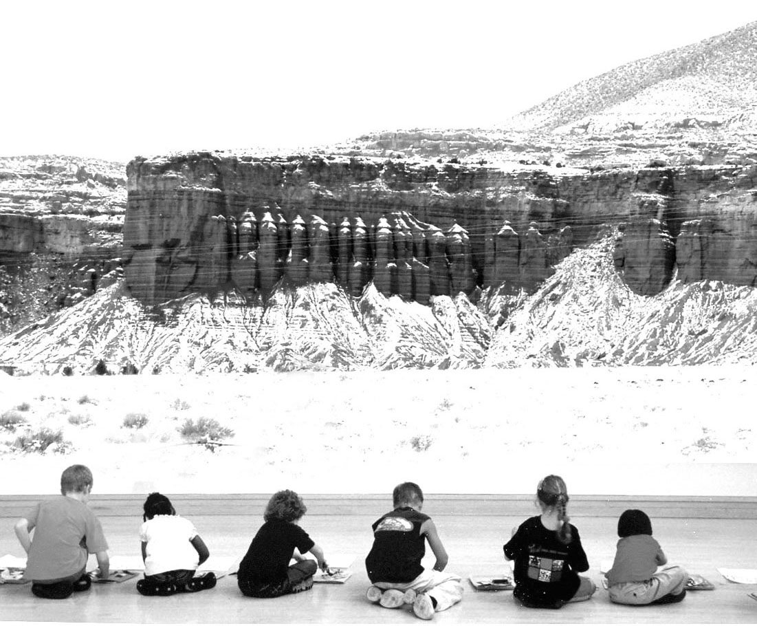 Children sit in a row in front of an image of a cliff face.