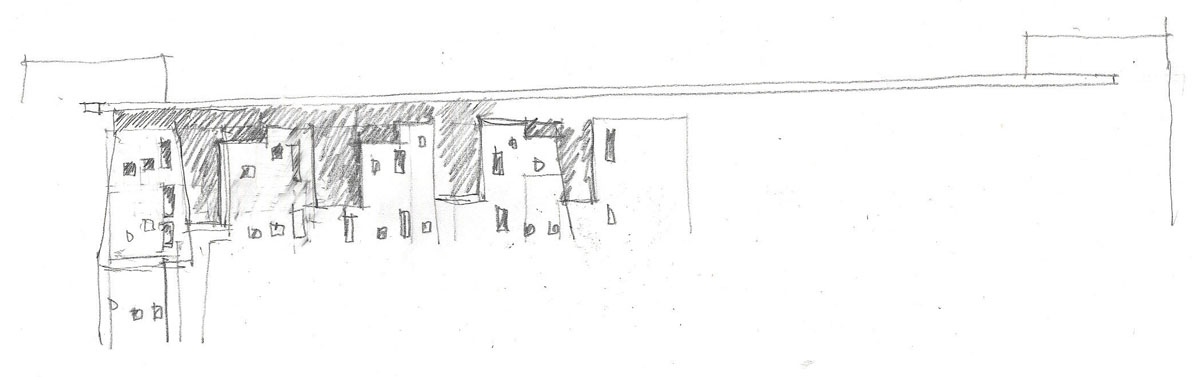 Sketch of possible building exteriors with the design inspired by nature.