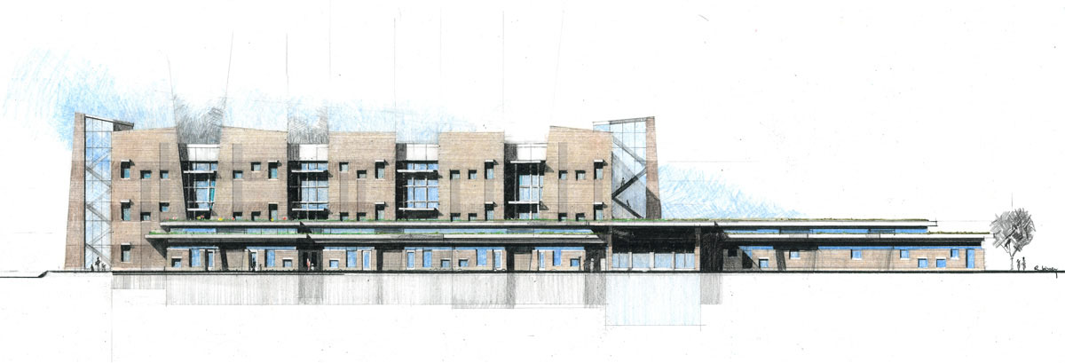 Detailed sketch of the final building concept design inspired by escarpments in nature.