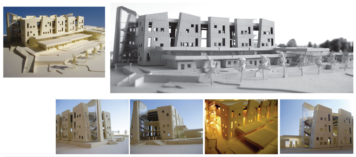 Collage of photographs taken of a scale model of the building design inspired by nature.