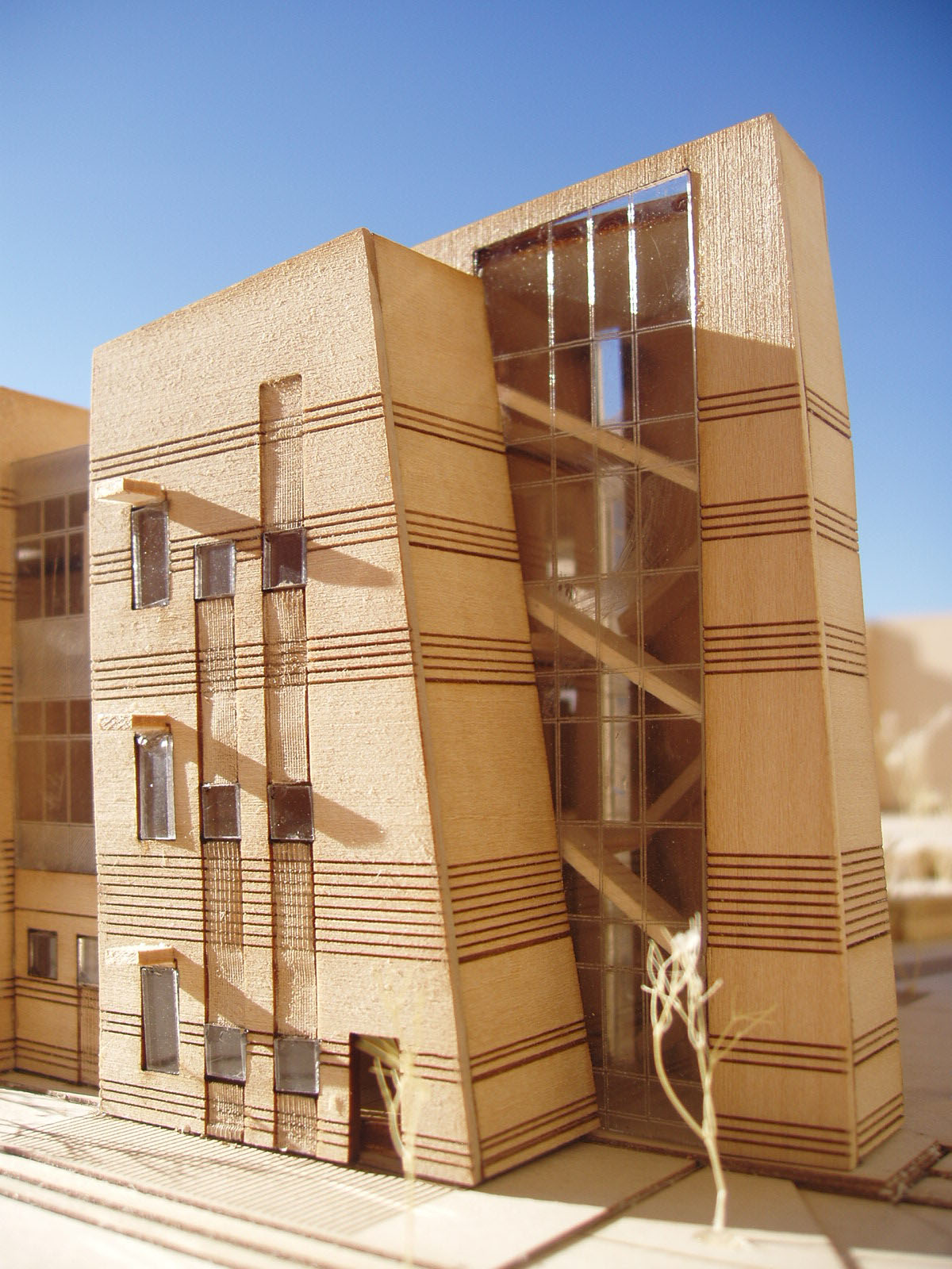 Detailed, wood scale model of the early childhood education building.