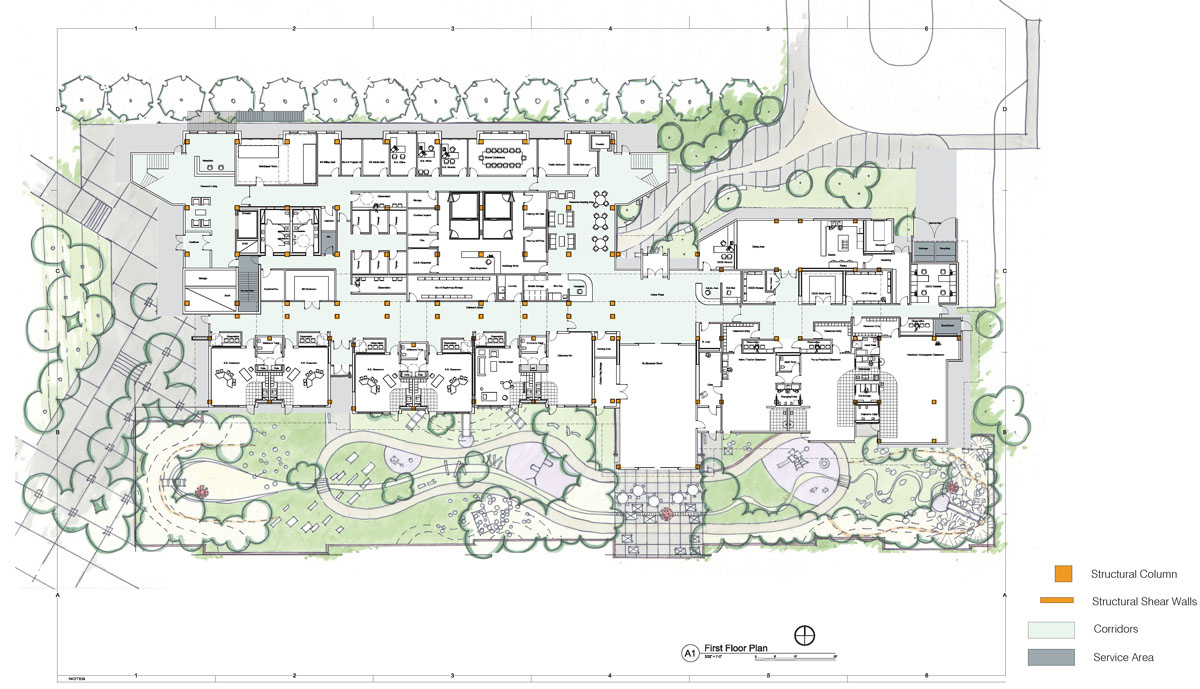 First floor plan showing building and landscaping layout with design inspired by nature.