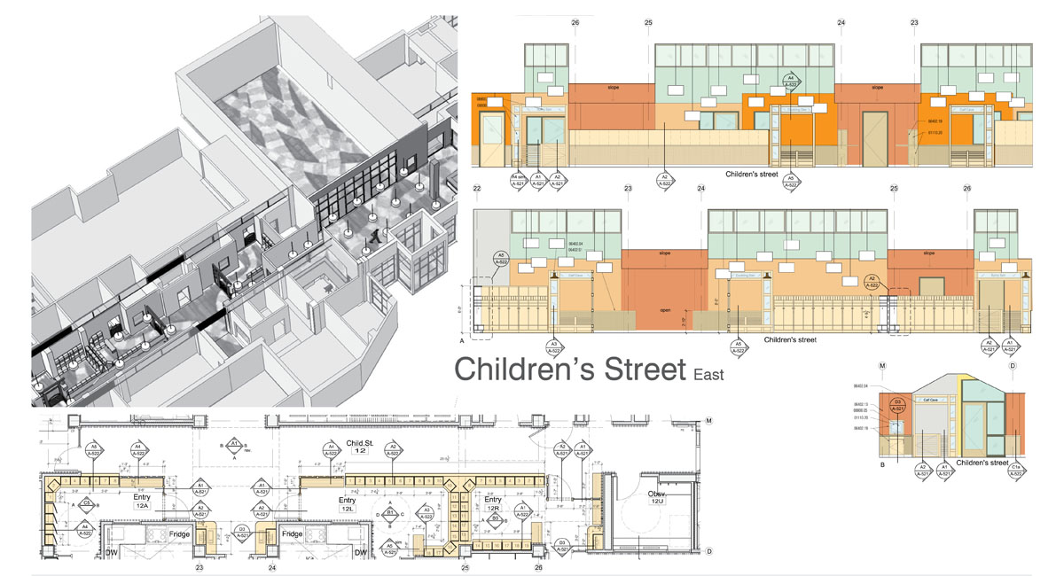 Floor plan and elevations showing a hallway designed with children in mind.