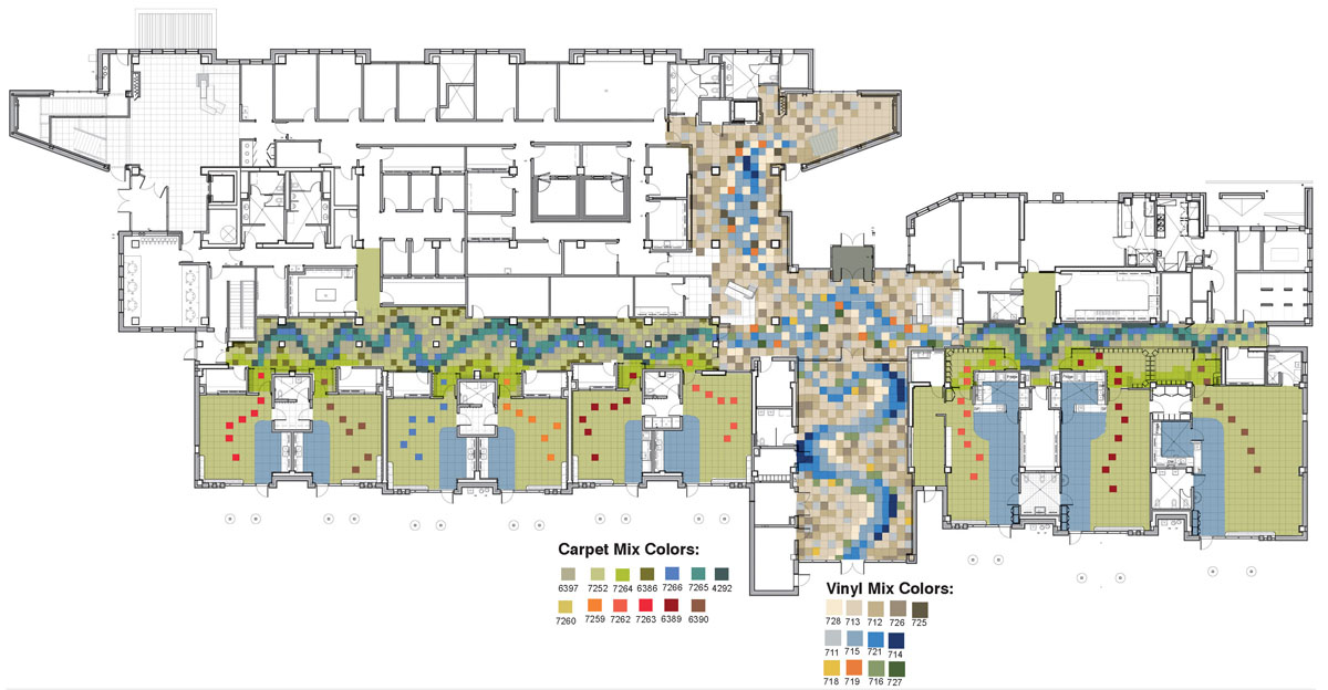 Flooring plan showing the pattern of different colored tiles and how they will be arranged in a flowing pattern.
