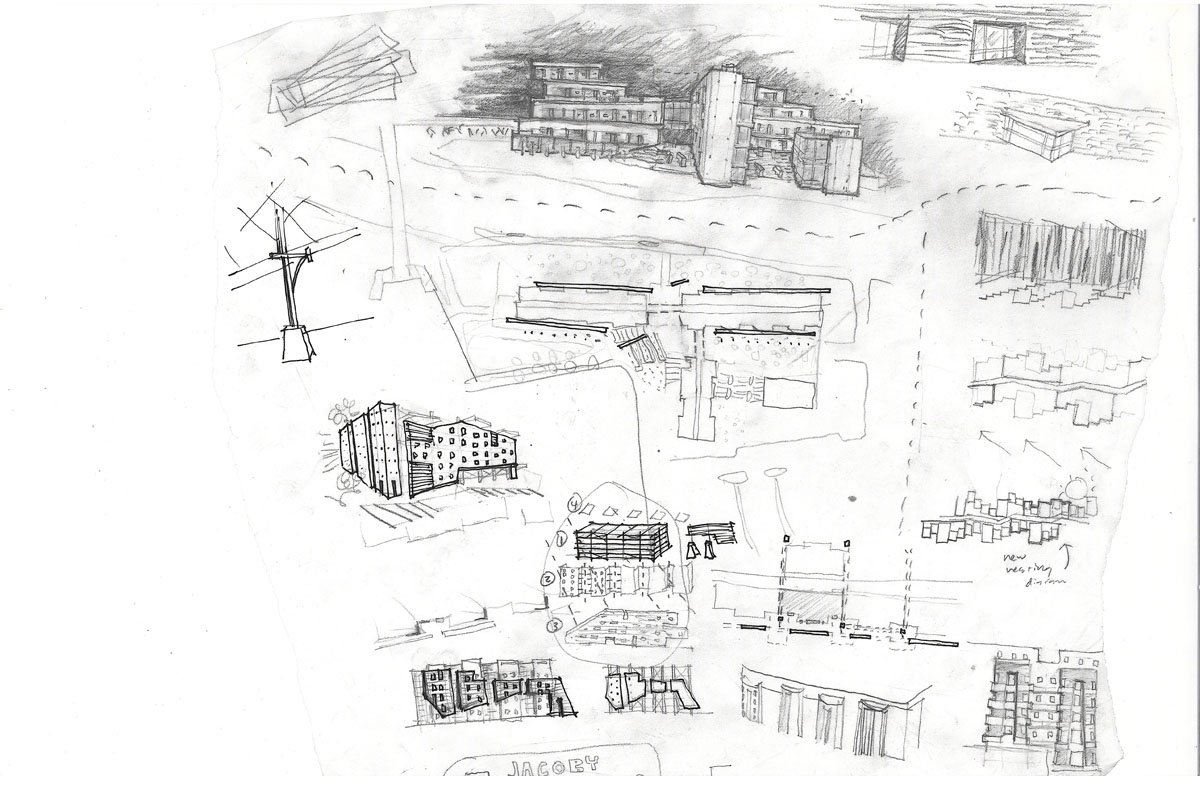 Sketches exploring different elevations for the honors housing concept at the University of Utah.