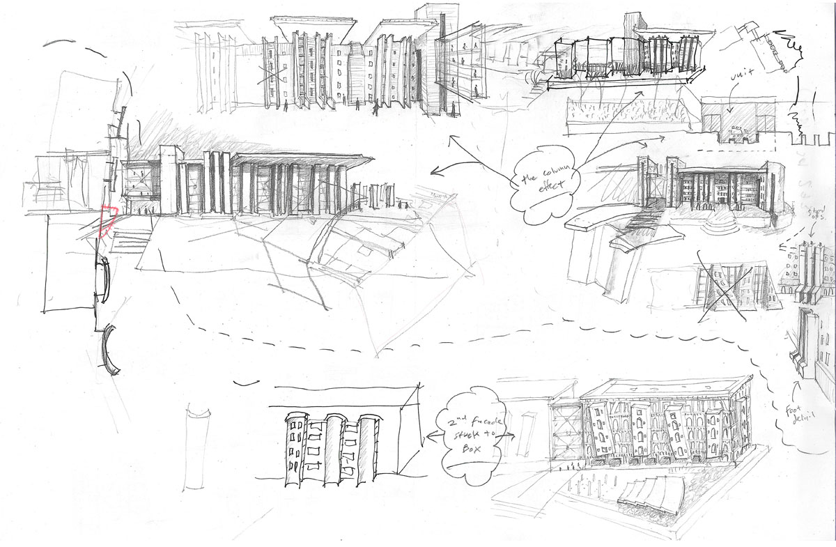 Sketches exploring segmenting the facade into columned areas for the honors housing concept.
