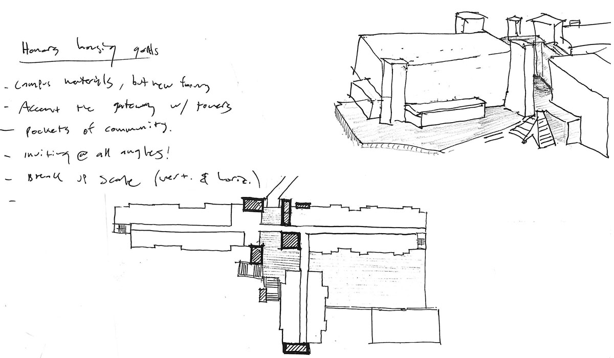 Sketch exploring different layouts, volumes, and needs for the honors housing concept.