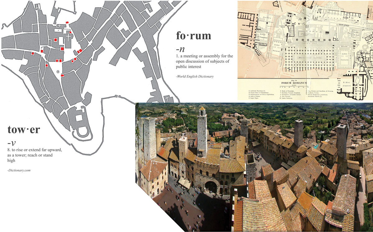 """Collage image with the definitions of the words """"forum"""" and """"tower"""" with inspiration images of Roman forums and towers."""