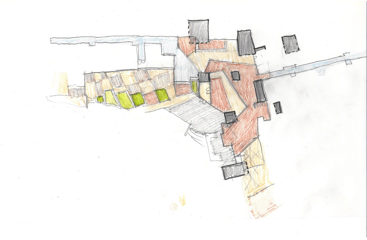 Bird's eye sketch of the honors housing concept and grounds.