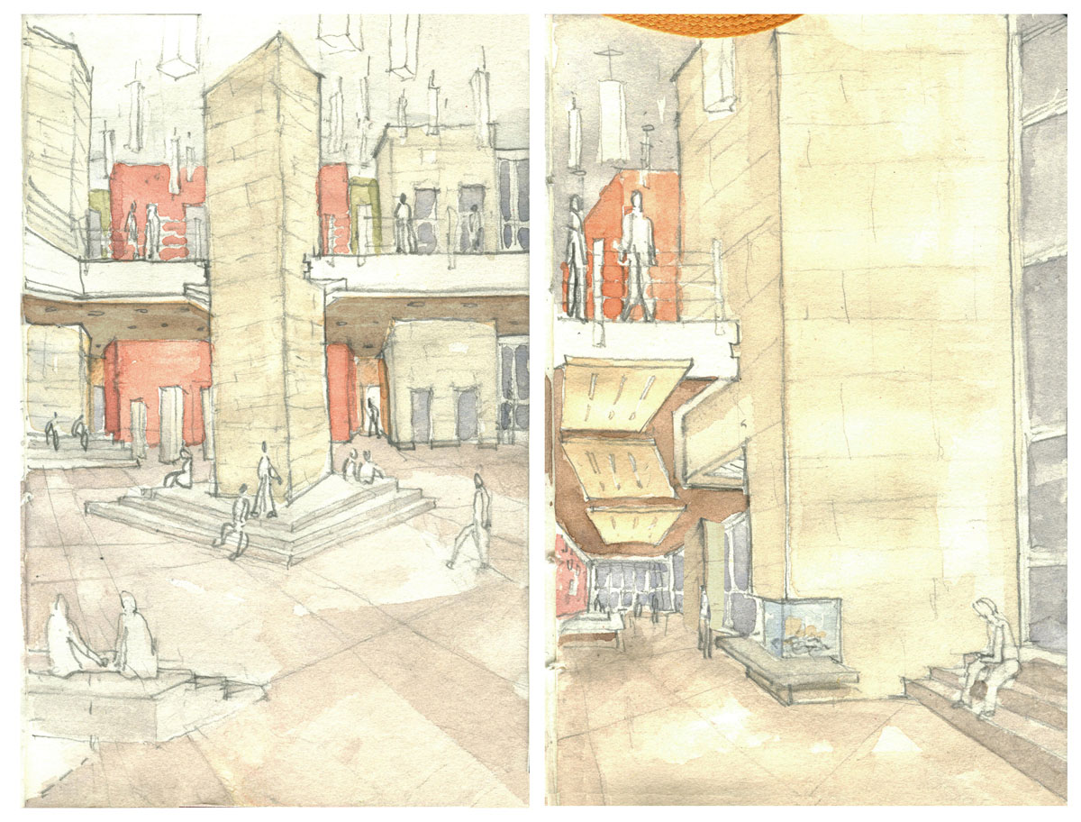 Watercolor drawings of the central lobby with columns, seating options, and various level as part of the honors housing concept.