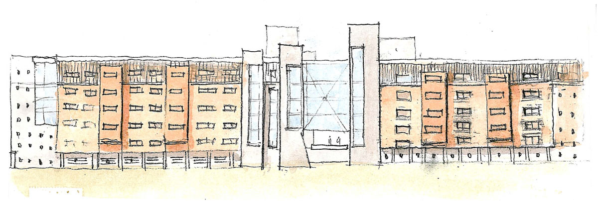 Sketch of the exterior side of the building with various toned columns and glass bridges.