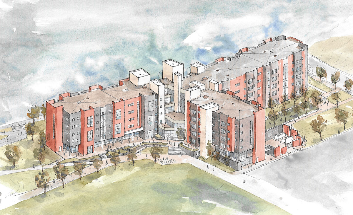 Watercolor showing the final design for the honors housing concept at the University of Utah.