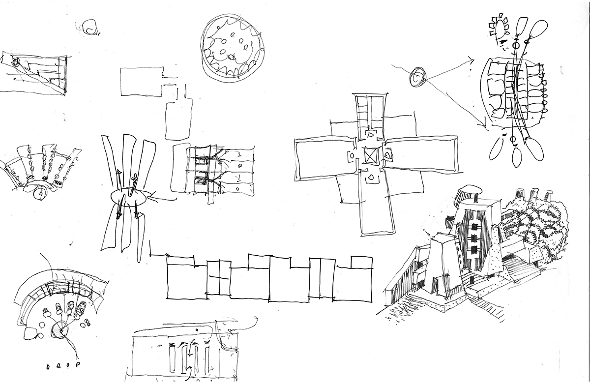 Hand-drawn concept sketches for the buiding that center around the idea of laminating interdisciplinary care.