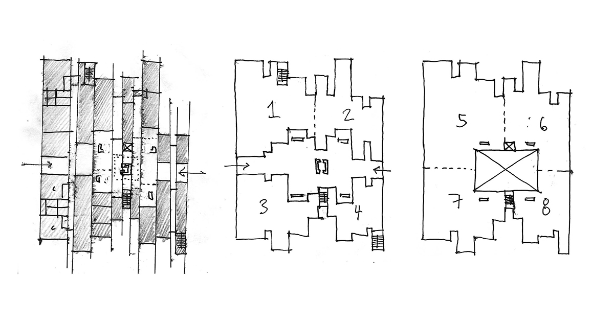 A group of sketches capturing different spatial layouts for the laminating interdisciplinary healthcare concept.