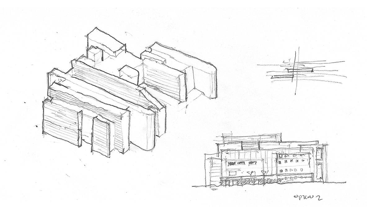 A group of pencil sketches for the building that explore a laminating look.