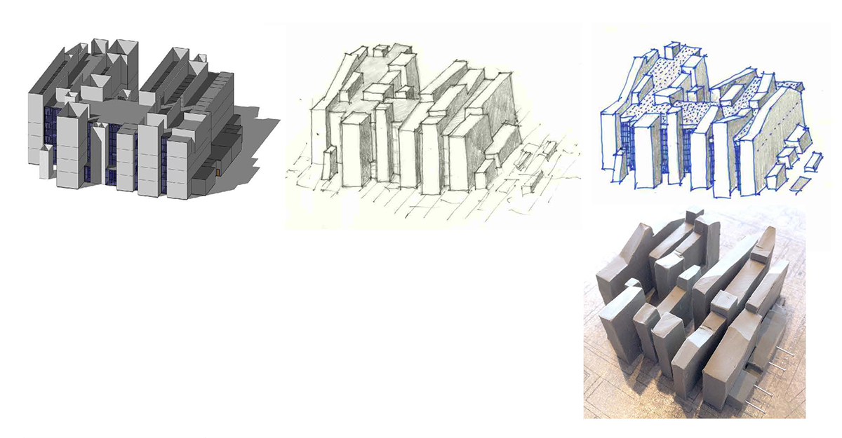 A collage of sketches showing varying heights and layers to the healthcare building design concept.