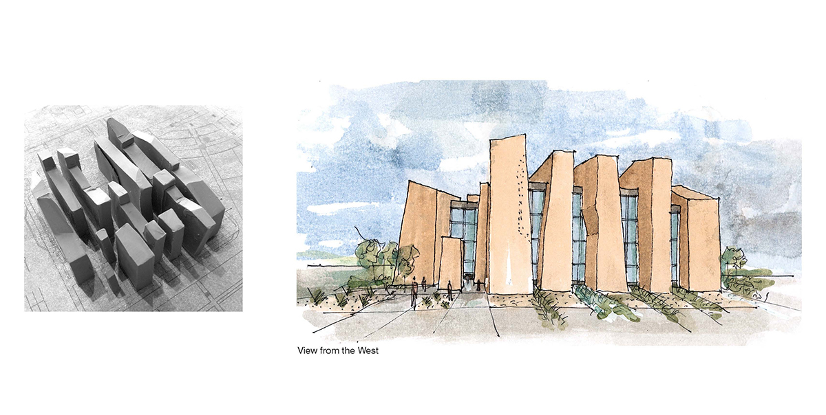 A collage with a clay model on the left and a watercolor sketch of the building design concept on the right.