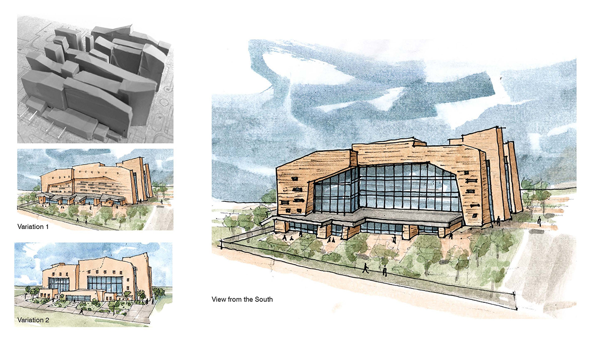 Collage of images including photograph of a clay model and watercolor sketches of the side of the building.