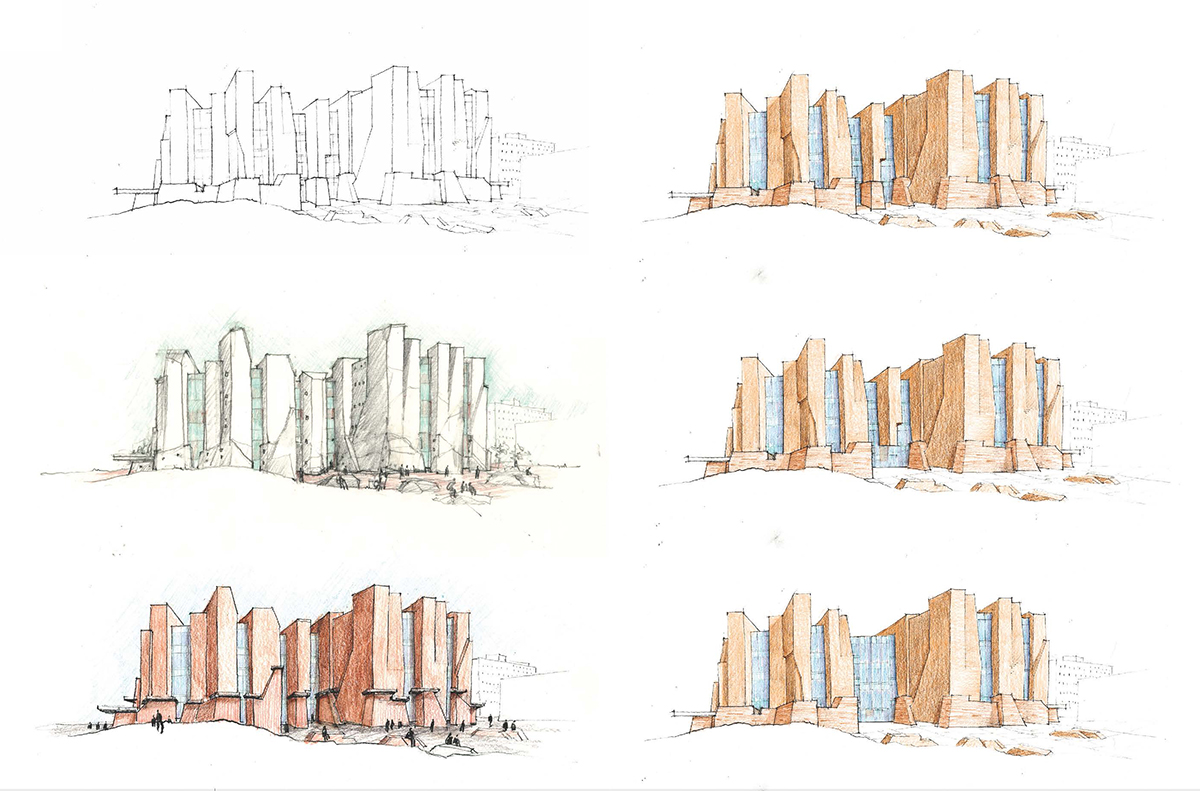 Collage of colored sketches exploring different heights and color shades for the building.