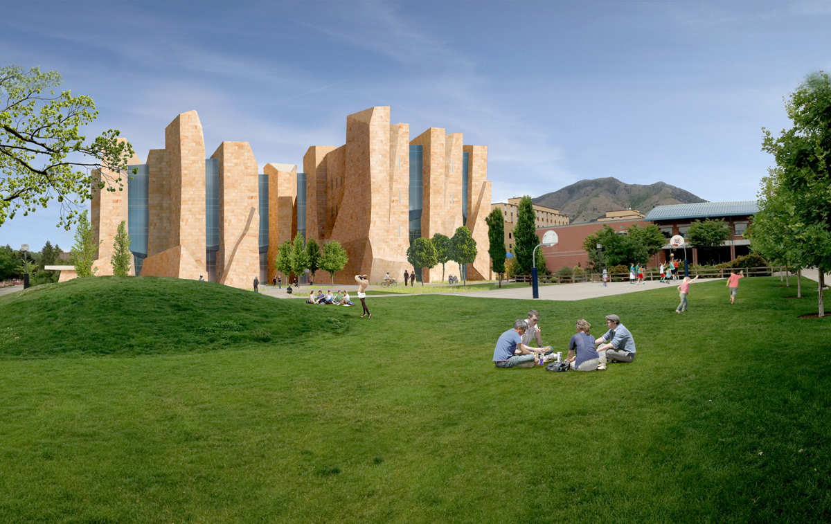 A computer rendering of the proposed building in the background and people sitting on the grass in the foreground.