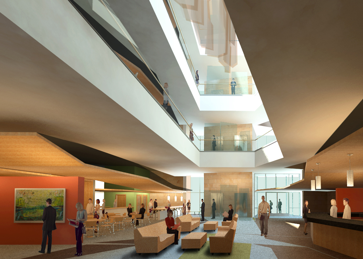 An interior rendering of a lobby concept.
