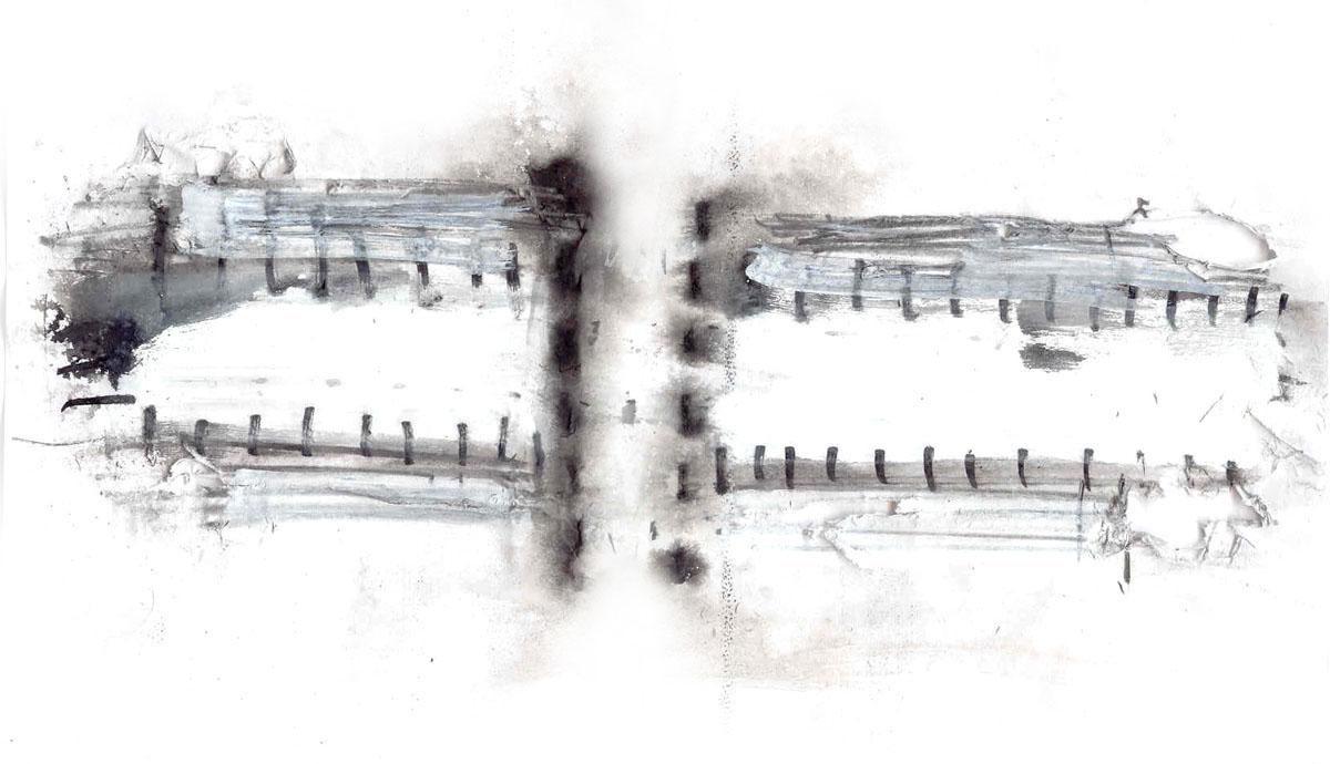 Abstract watercolor concept for a modern barn design.