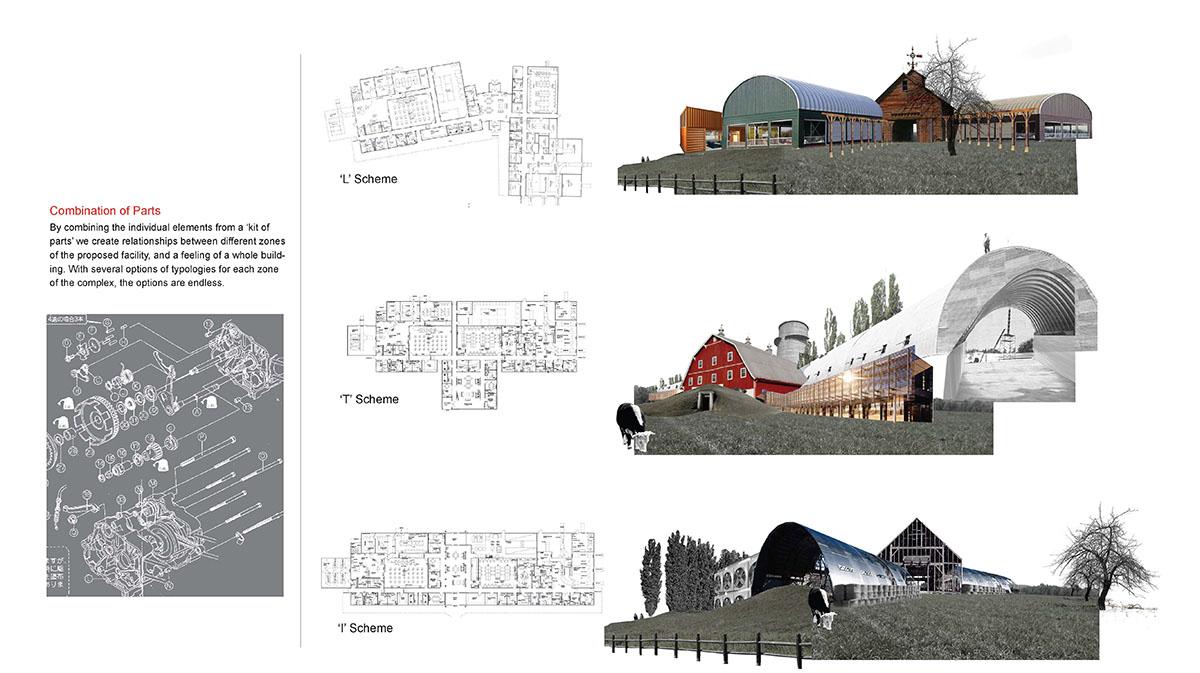 A collage of modern barn design inspiration photos.