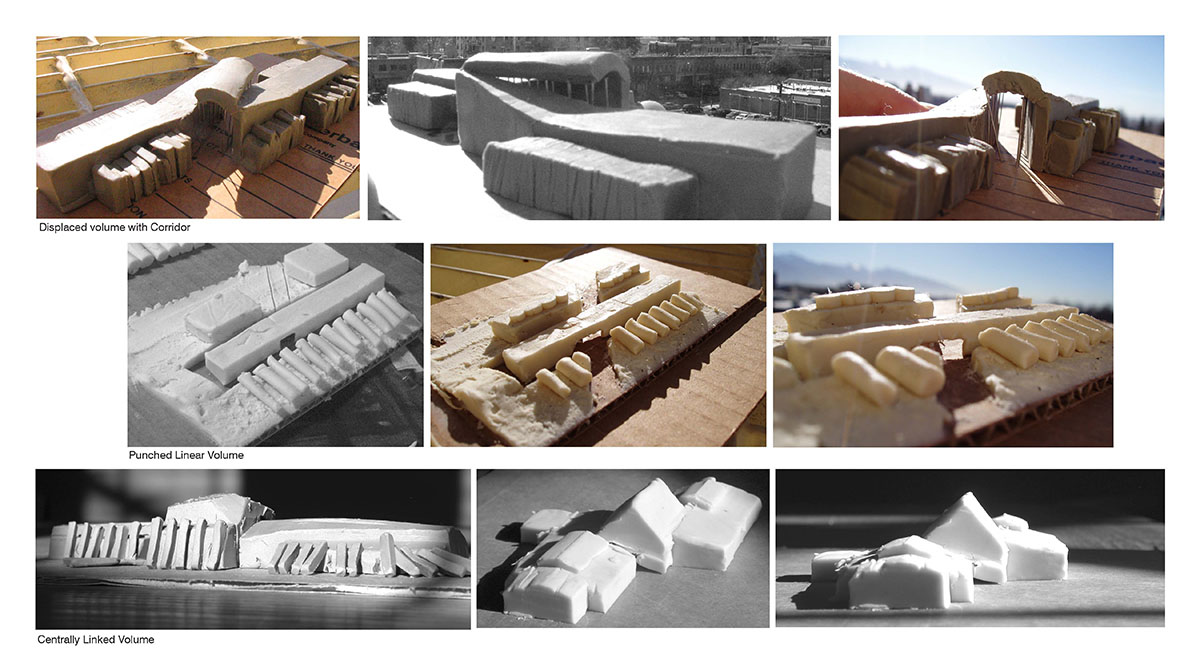 Collage of images showing clay and wood models in various layouts.