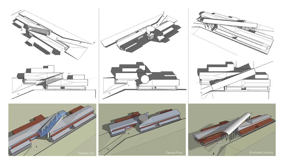 Collage of computer rendered images of different building layouts for the modern barn design.