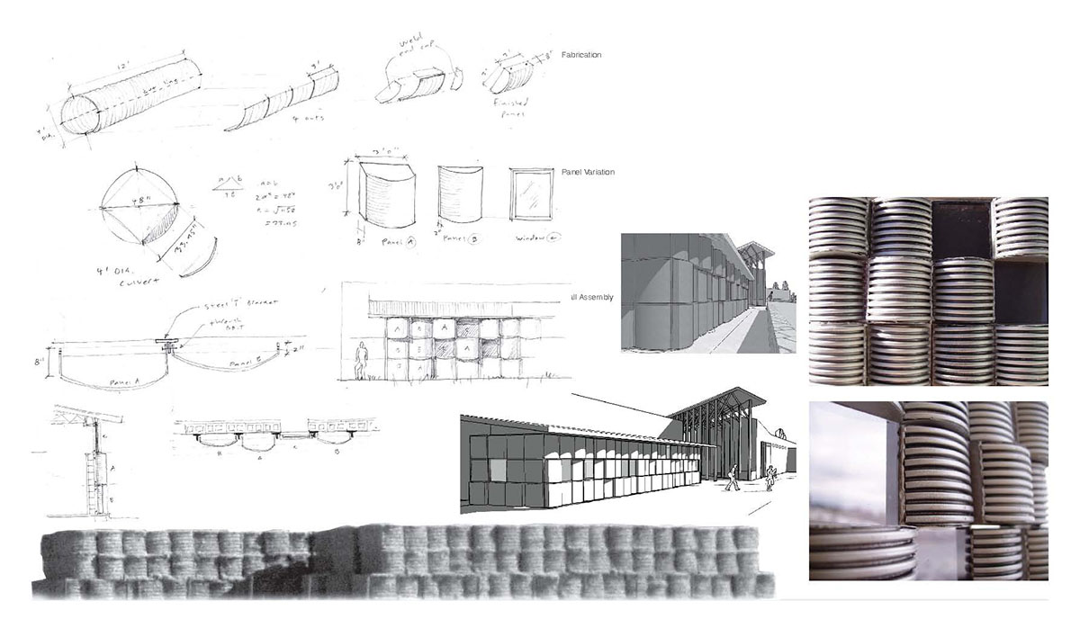 Collage of sketches, renderings, and inspiration photos for a modern barn design.
