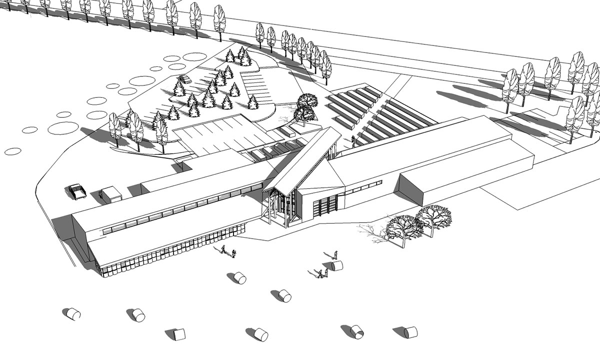 Black and white rendering of the modern barn design layout.