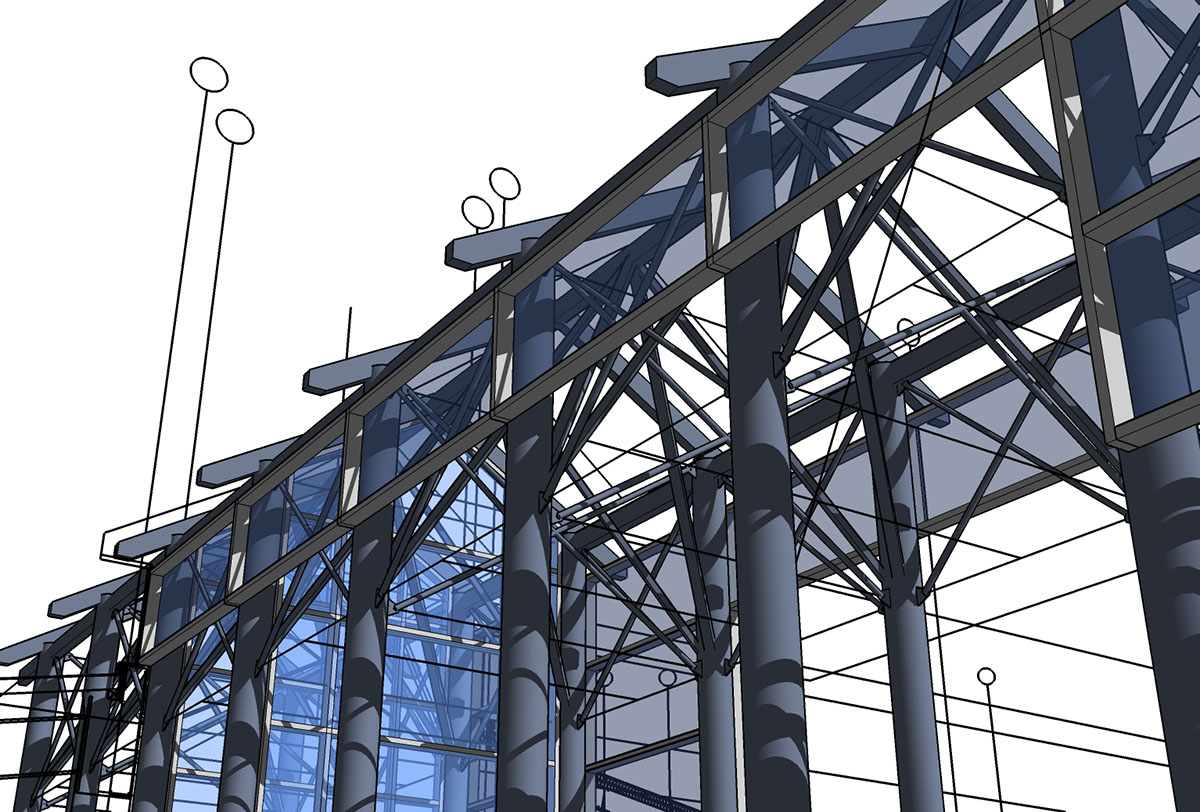 Computer rendering of the beam layout for the entrance.
