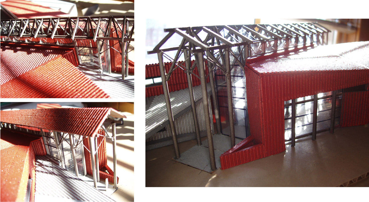 Scale model of the beams and entrance to the building for the modern barn design.
