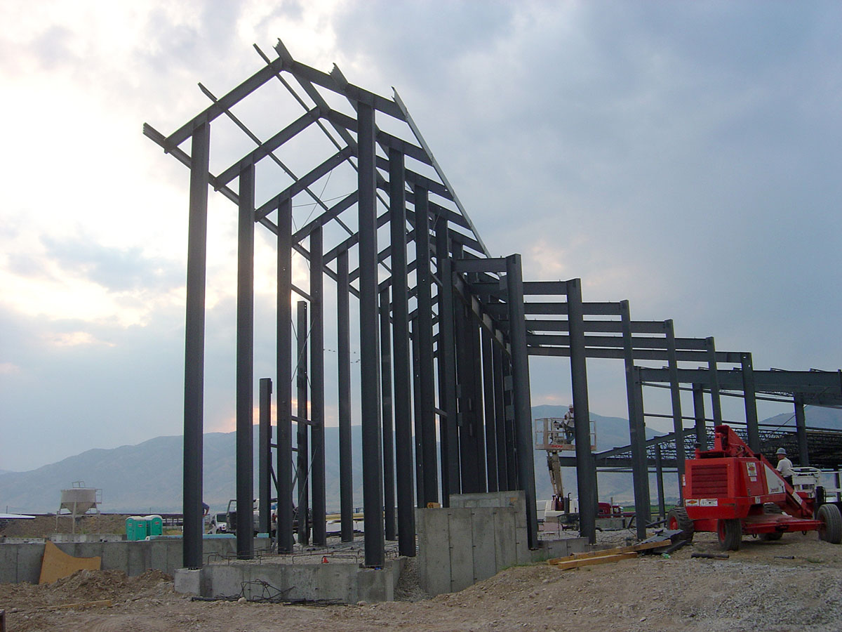 Steel beams being put in place at the entrance during construction.