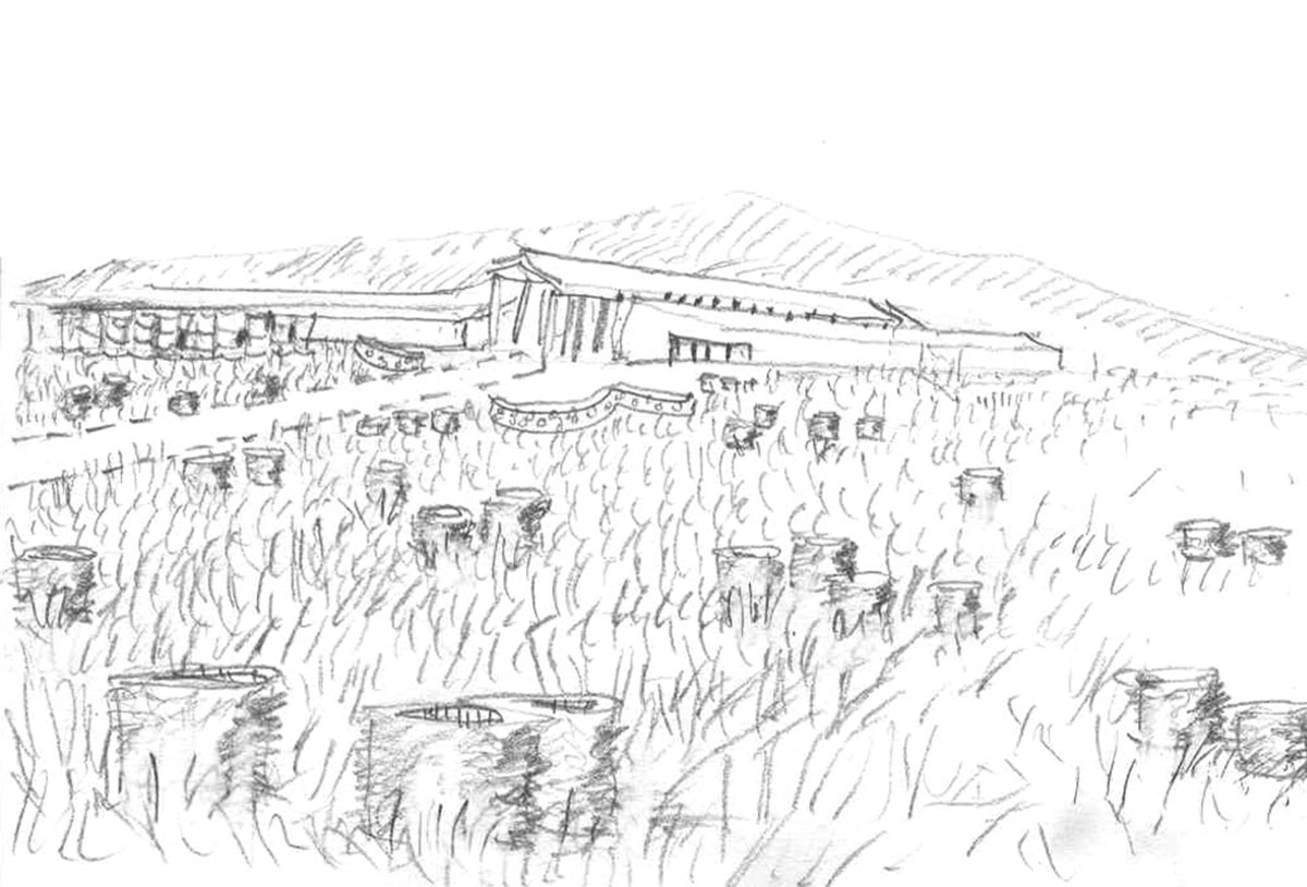 Pencil sketch of the modern barn design from far away with the building in the background and an empty field in the foreground.