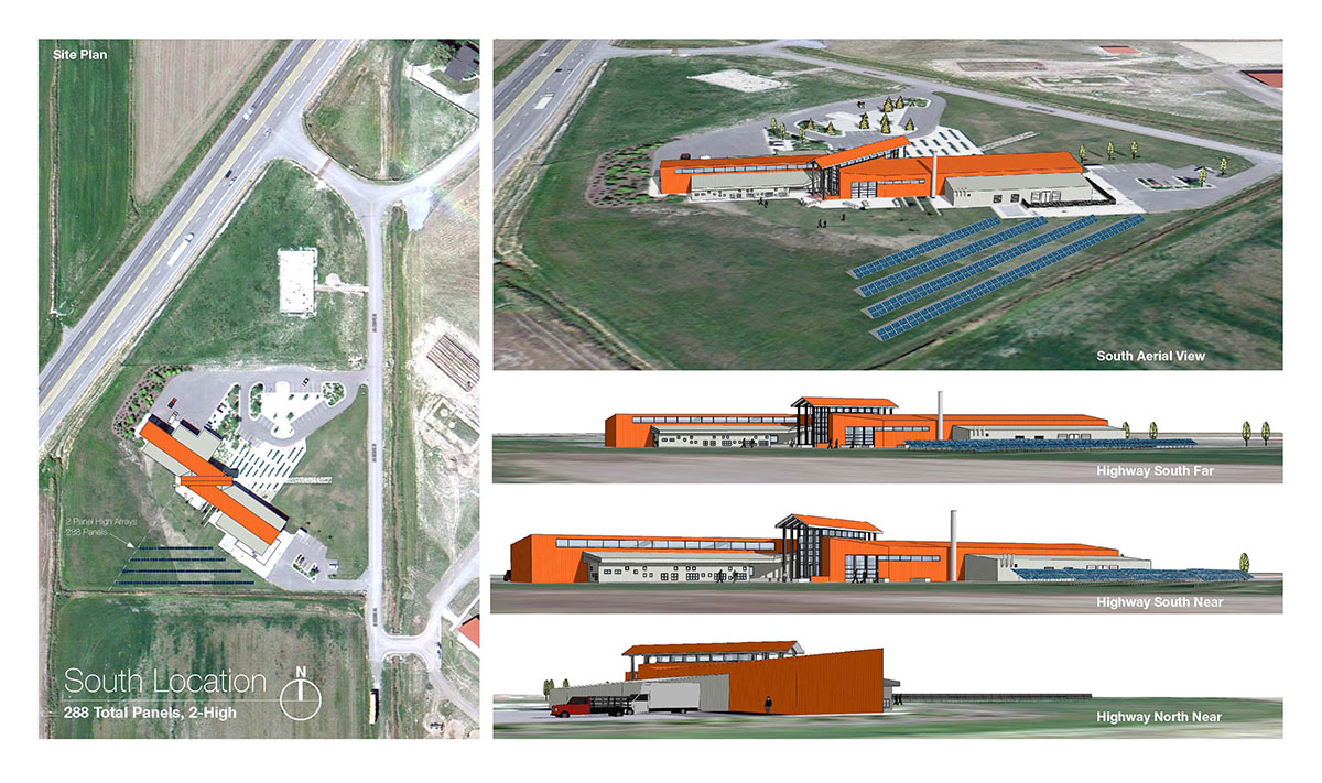 A collage of computer renderings showing different angles of the building.