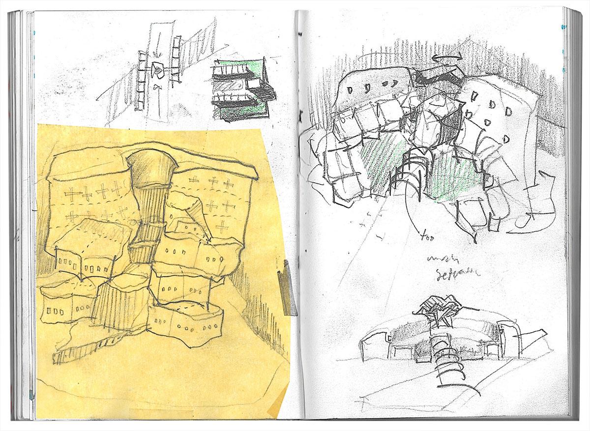 A collage of pencil sketch ideas for sensory design.