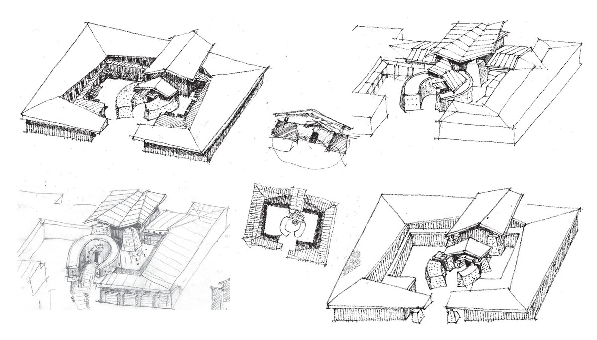 A collage of sketches showing possible sensory designs for the school building.