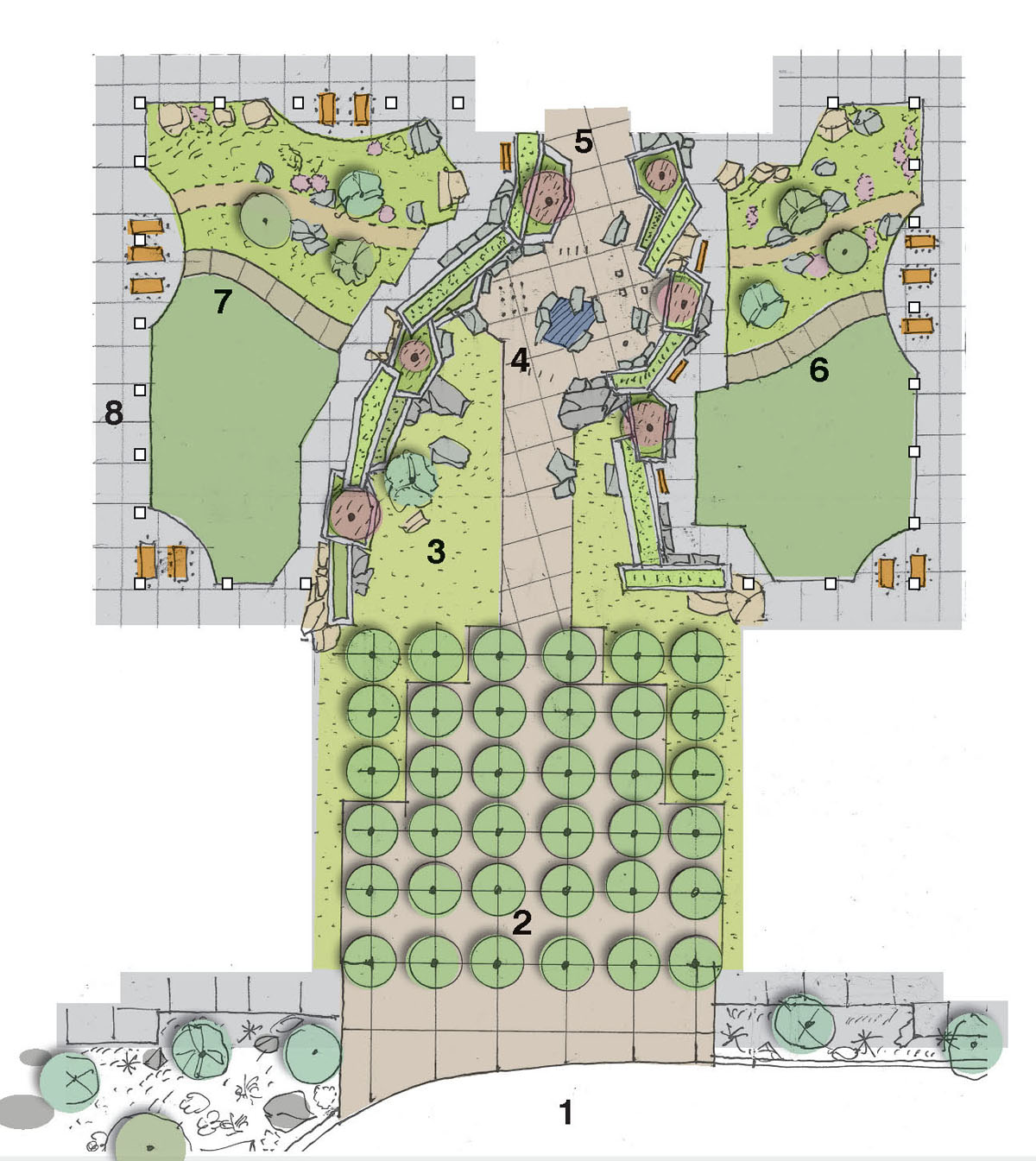 Computer rendering of the layout for the courtyard area at the school for the deaf and the blind.