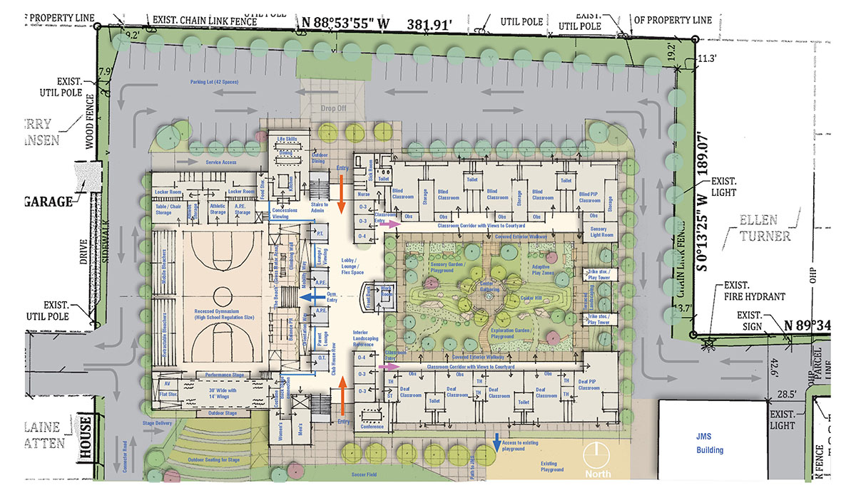 Alternate building layout plan with gym on left side and classroom on right side surrounding a courtyard.