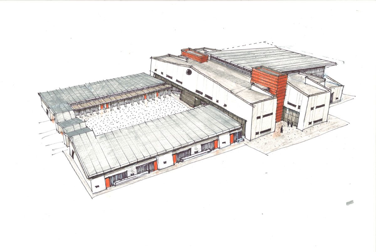 Color sketch of the final design for the deaf and blind school.