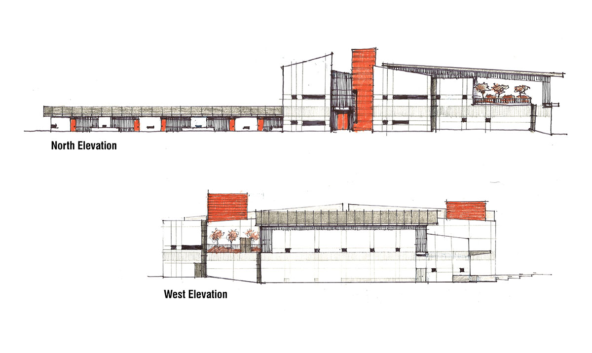 Collage sketch of the building elevations with a light facade and red glass panel accents in the stairwells and building entrances.