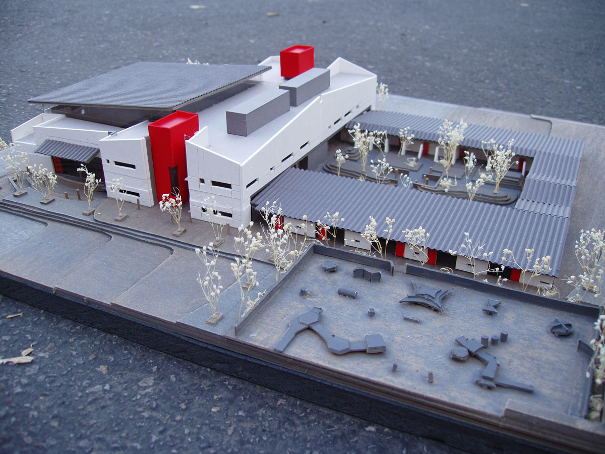 Scale model of the sensory design for the exterior showing the red accents.