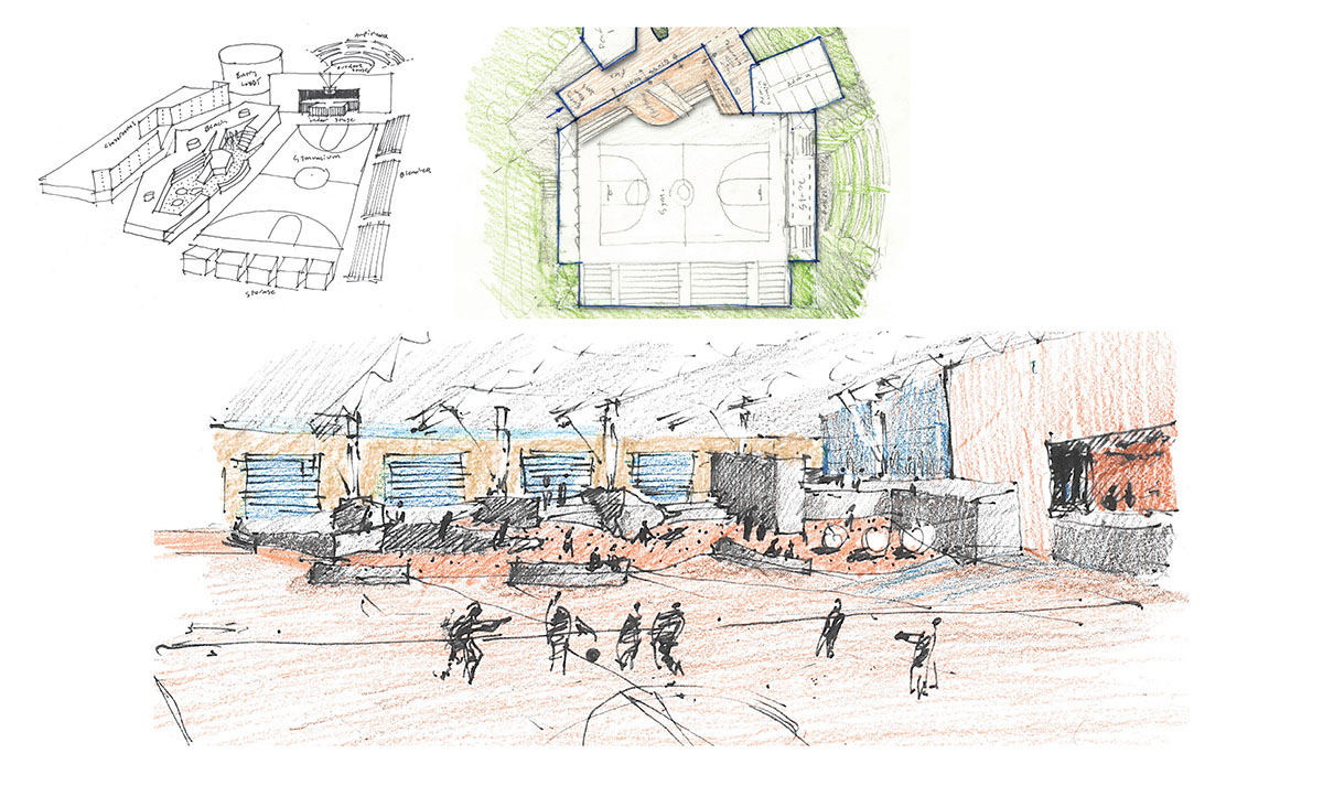 Collage of detailed colored sketches of the sensory design for the gym.